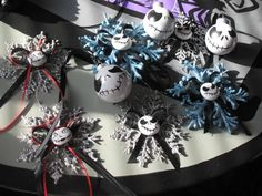 My jack ornaments stuff all from dollor store the heads on snow flakes are painted rocks
