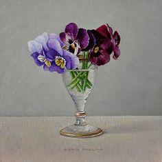 Kleurige viooltjes in glaasje | stilleven schilderij in olieverf van Ingrid Smuling | Exclusieve kunst online te koop in de webshop van Galerie Wildevuur