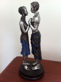 African Couple Tribal Figures - Romantic Collectible Kenyan Maasai Decorative Art Sculpture -  Valentines Gift