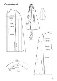 Coat Patterns, Dress Sewing Patterns, Clothing Patterns, Cape Pattern, Jacket Pattern, Fashion Sewing, Diy Fashion, Moda Fashion, Sewing Clothes