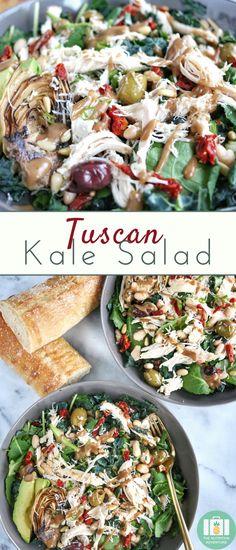 Tuscan Kale Salad | The Nutrition Adventure #salad #chicken #healthyrecipe