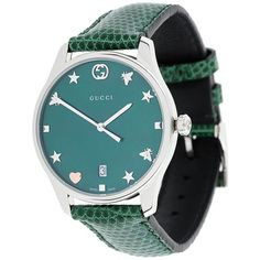 Gucci G-Timeless watch (16.758.590 IDR) ❤ liked on Polyvore featuring jewelry, watches, green, gucci, quartz movement watches, green watches, gucci jewelry and gucci wrist watch