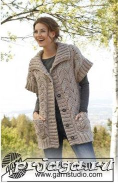 "Best West by DROPS Design A must-have as soon as the first cold days come ! Knitted DROPS jacket with lace pattern in ""Andes"". Knitting Patterns Free, Knit Patterns, Free Knitting, Free Pattern, Drops Design, Knitted Beret, Jacket Pattern, Cardigan Pattern, Knit Jacket"