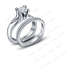 14k White Gold Finish 925 Silver Solitaire W/Accents Women's Bridal Ring Set 5 6 #Aonedesigns #SolitaireWithAccentsWeddingEngagementRing