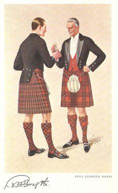 Evolution of Scottish National Dress in vintage catalog illustrations - Page 8 Celtic Clothing, Scottish Clothing, Scottish Fashion, Tartan Clothing, Vintage Clothing, Fraser Clan, Scottish Dress, Man Skirt, Steampunk