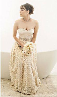 wedding gown sundress style   Heart Wedding Dress: Ivory Ruffled Wedding Dress