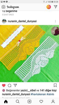 Crochet Borders, Filet Crochet, Crochet Stitches, Crochet Patterns, Needlework, Free Pattern, Cross Stitch, Embroidery, Knitting