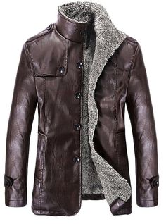 Ubon men's winter thicken PU leather jackets