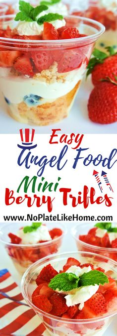 Adorable mini Angel Food Berry Trifles are the perfect red, white, and blue summer dessert because they are easy-to-make, individual desserts served in disposable cups with easy clean up for parties! They are made with cream cheese, sweetened condensed milk, strawberries, blueberries and Cool Whip! Perfect for Memorial Day and July 4th. Pin for later!