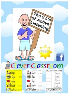 FREE from Clever Classroom on TpT. The 5 L's of Active Listening Posters and Worksheets - PDF pages, designed by Clever Classroom.This resource is one of our top selle. Classroom Discipline, Classroom Behavior, Classroom Posters, School Classroom, Classroom Activities, School Fun, School Ideas, Classroom Ideas, Classroom Organisation