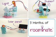 3 Months of Roominate - Help your child stay excited about science and engineering year-round with Roominate!    With our three month subscription, you'll receive a Roominate Expansion Kit at the beginning of every month. Each expansion kit includes a new circuit, more building pieces, and/or more decorations to add to your Roominate creation!