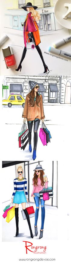 Life style fashion illustrations by Houston fashion illustrator Rongrong DeVoe using Copic markers. More of her fun fashion illustrations at www.rongrongdevoe.com