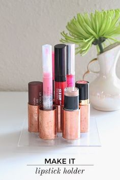 Dedicate a space to your lip products with this cute cooper pipe solution.