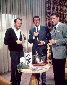 Frank Sinatra, Dean Martin, & Peter Lawford - Liquid Christmas in a suite at The Sands Hotel, vintage Las Vegas photo. Joey Bishop, Sammy Davis Jr, Dean Martin, Vintage Hollywood, Classic Hollywood, Oceans 11, Peter Lawford, Las Vegas, Jerry Lewis