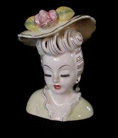 GORGEOUS Vintage Porcelain Painted Lady Headvase Faux Pearl Earrings Flower Hat