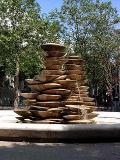 """Fontaine des Polypores"" by the Jean-Yves Le Chevalier, 1983, rue Modigliani, Paris"