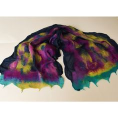 Wool shawl, cobweb scarf, large wrap, multicolored, nunofelted,... (3 230 UAH) ❤ liked on Polyvore featuring accessories and scarves