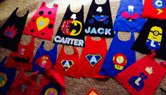 Create your own super hero capes. Felt, spray adhesive, scissors, iron on Velcro and creativity:-) appx 1yard for 4 toddler capes;-) HAPPY 4th BIRTHDAY CARTER XOXO