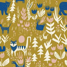 151818 Lions Tigers and Bears | Gold Quilter's Cotton from Lore by Leah Duncan for Cloud9 Fabrics