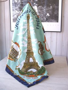 Vintage Souvenir of Paris France LAHMY Roger L. Paris Polyester Scarf Made in Italy by lookonmytreasures on Etsy