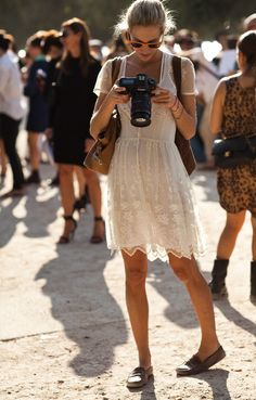 little white dress and red sunglasses