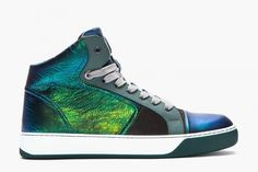 d171e08be67bf Lanvin Green and Blue Mid-Top Leather Sneaker Nike Roshe