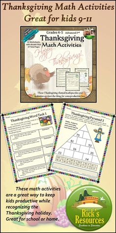 These Thanksgiving math activities are a great way to keep kids productive and motivated around Thanksgiving. These math activities include motivating riddles and puzzles to keep kids' interest. They cover key math skills involving adding, subtracting, multiplying, dividing while using word problems, puzzles, and other problem-solving techniques. $