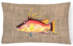 Hog Snapper on Faux Burlap Canvas Fabric Decorative Pillow 8753PW1216