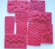 Make your own stamps with polymer clay - easy to fashion with a handle to use for designs on newly sliced soap.