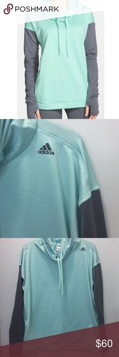 ADIDAS mint green/blue and gray cowl neck worn twice, great condition. small black mark on the neck part as shown in picture, but it cannot be seen when on. size xl, but listed as size large because it runs smaller. im a size small and it looks cute oversized, so it can fit anywhere from s-xl in my opinion:) make an offer adidas Tops Sweatshirts & Hoodies