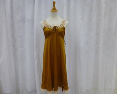 Nightgown S/M Golden Yellow Glam Garb Handmade USA Hand-Dyed
