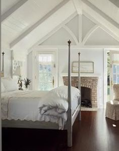 Love EVERYTHING About this room! traditional bedroom by Austin Patterson Disston Architects Dream Bedroom, Home Bedroom, Bedroom Decor, Bedroom Ceiling, Cathedral Ceiling Bedroom, Bedroom Photos, Peaceful Bedroom, Cathedral Ceilings, Attic Bedrooms
