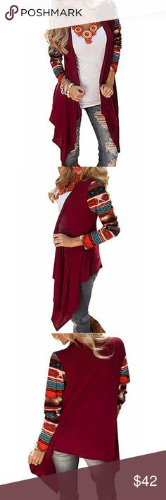 NWT Wine Aztec Drapey Asymmetrical Cardigan Gorgeous brightly colored soft stretchy comfortable and casual cardigan perfect for fall and winter. C.C. Boutique Sweaters Cardigans