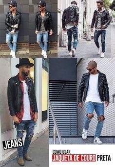 Como integrar jaquetas de couro ao seu armário, ótima dica de moda masculina.