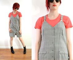 90s Plaid Overall Mini Button Down Shift Dress Houndstooth Black White Wiggle Dress Clueless Grunge //  Small Medium