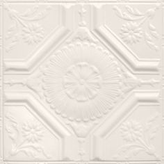 Tin Ceiling Tile Pattern is a floral emblem, with a large centerpiece surrounded by four diamonds filled with sunflowers. Old Fashioned House, Tin Crown Molding, Tin Walls, Large Centerpiece, Tin Ceiling Tiles, Ceiling, Wall Patterns, Tile Patterns, Ceiling Tile