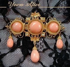 REGAL 14K GOLD Antique Victorian CORAL Brooch Seed Pearl with Drops, Etruscan Revival c.1870's!