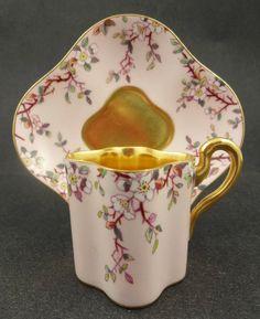 Antique Japanesque Coalport Demitasse Cup & Saucer