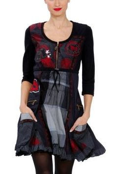 Elvira Desigual dress from the Night line. This black, grey, and red dress comes with a zipper, bow and side pockets. �La vida es chula!