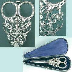 Ornate Antique English Sterling Silver Scissors in Original Case Circa 1870 | eBay
