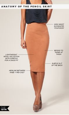Pencil Skirt with shell top.  All Black.   Black skirt with jewel/berry tone top.  Green skirt with white top.  Also with Safari/Mao collar shirts.  Mid heel court shoes for work.  High heels for evening.  Also open cardis  waist belts.  Belts can be chunky or thin.