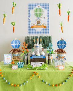 Hot Air Balloon themed Easter Party with Such Cute Ideas via Kara's Party Ideas | Cake, decor, cupcakes, games and more! KarasPartyIdeas.com...