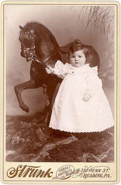 """The Rocking Horse Winner"" - circa 1890 Cabinet Card. Not dead Vintage Children Photos, Vintage Pictures, Old Pictures, Vintage Images, Old Photos, Baby Photos, Vintage Abbildungen, Vintage Girls, Vintage Postcards"