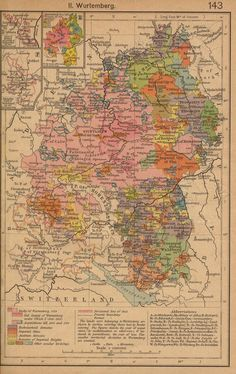 German States Before and since the French Revolution: II. Wurtemberg (County of Horburg and Lordship of Reichenweier. Principality-County of Montbeliard. Wurtemberg since 1495. From The Historical Atlas by William R. Shepherd, 1923) - click on link and you can enlarge the image to really see every area