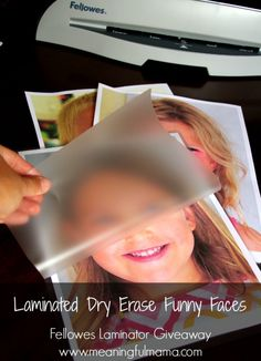 Laminated Funny Faces - Laminate your child's face so they can color with white board pens. Fun idea! #paid http://meaningfulmama.com/2014/08/laminated-dry-erase-funny-faces.html