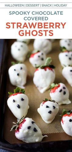 These fun and festive Chocolate Covered Strawberry Ghosts are the perfect spooky treat this Halloween season! They're a nice, healthy alternative halloween dessert. #chocolate #strawberry #ghosts #halloween #dessert #halloweendessert #whitechocolate #chocolatestrawberries Healthy Halloween, Halloween Desserts, Spooky Halloween, Halloween Treats, Halloween Decorations, Halloween Costumes, Healthy Dessert Recipes, Snack Recipes, Opening A Bakery