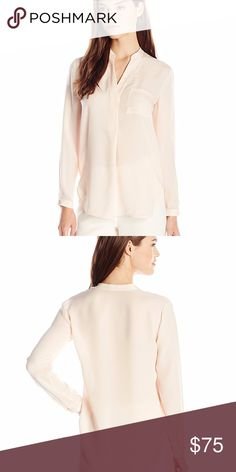 f0802310cd26b NEW Vince Womens Pink Georgette Pocket Silk Blouse Self  100% Silk Imported  Dry Clean Only Signature Vince. Relaxed fit popover silhouette Regular fit  ...