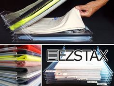 EZSTAX Organizers solve the messy clothing pile problem. Pull an item from the middle of a stack without it sticking to the rest. Great for office files too!