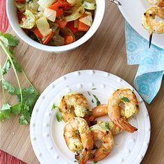 Grilled Curry Shrimp Skewers with Grilled Onions & Red Pepper