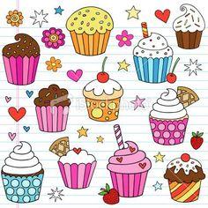 Cupcake Doodles Vector Design Elements